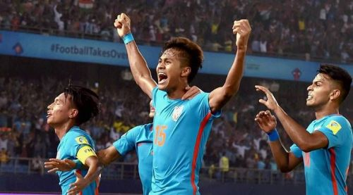 Jeakson Singh celebrates after scoing for India in the U-17 World Cup match against Columbia