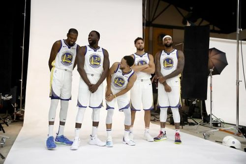 The Golden State Warriors Starting Five (Kevin Durant, Draymond Green, Stephen Curry, Klay Thompson and DeMarcus Cousins)