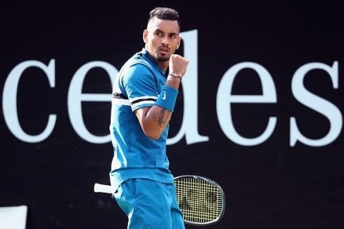 Kyrgios celebrating during a match on Day 5 of this year's Mercedes Cup in Stuttgart