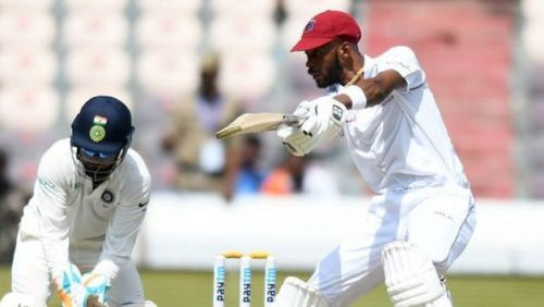 Roston Chase playing cut shot against India