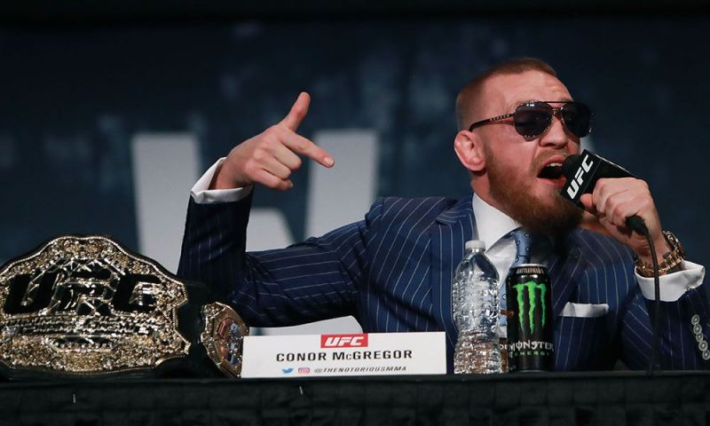 Conor McGregor at the UFC 205 pre-fight press conference lashing out insults at Eddie Alvarez