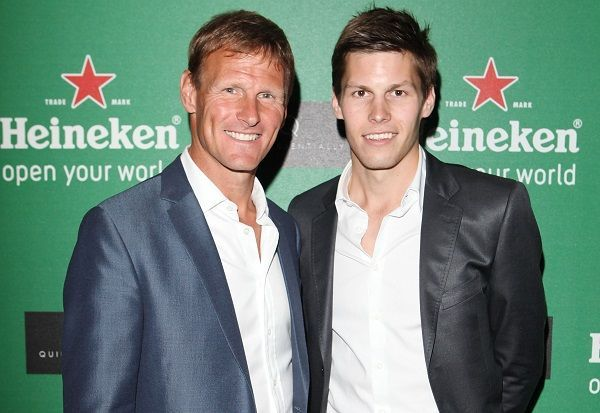 Teddy Sheringham, former ATK coach, with son Charlie (right)