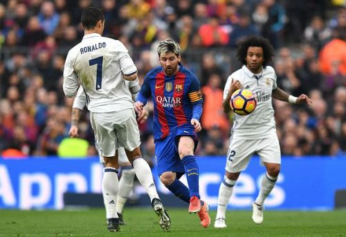 Messi and Ronaldo during an El Clasico match