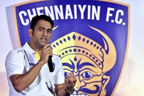 MS Dhoni at a press meet after Chennaiyin FC's match