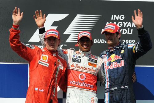 Sharing the Hungaroring podium with Mark Webber and Kimi Raikkonen