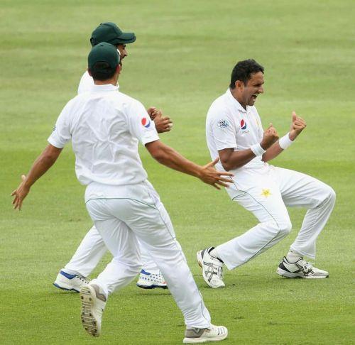 Mohammad Abbas celebrating wicket against Australia