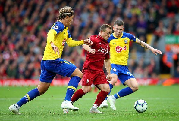 Xherdan Shaqiri is lost in Liverpool colours