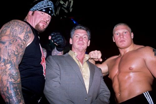Vince McMahon (c) and Brock Lesnar (r) - Friends once again