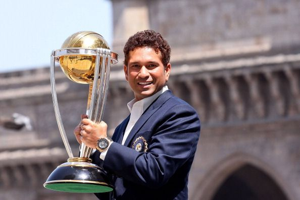 Sachin with the trophy - 2011 ICC World Cup