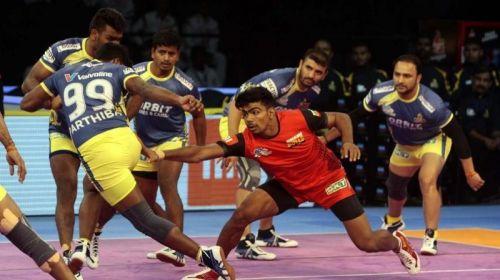 Young raider Pawan Kumar Shehrawat scored two super raids in the first half