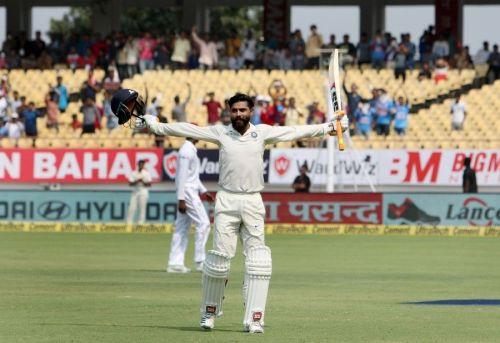 Jadeja scored his maiden Test century at Rajkot