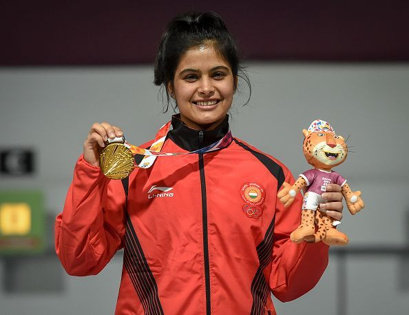 Manu Bhaker celebrates her gold medal win at the Youth Olympics on Tuesday