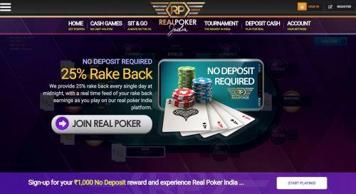 Real Poker India also offer Rake Back
