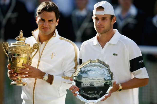 Roger Federer and Andy Roddick after their epic battle during Wimbledon 2009.
