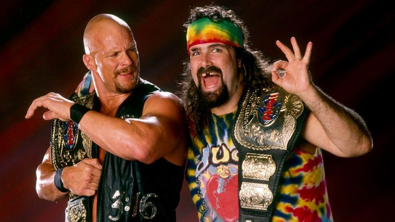 Steve Austin and Dude Love as WWF Tag Team Champions.