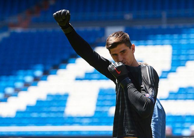 Courtois during his Real Madrid presentation