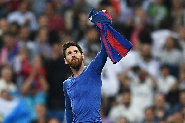 Lionel Messi with the shirt celebration against Real Madrid.