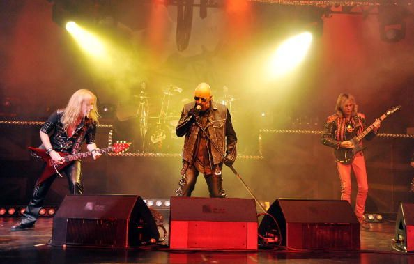 K.K. Downing on-stage with Judas Priest at The Gibson Amphitheatre in Los Angeles