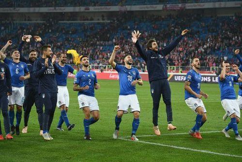 A jubilant Azzurri celebrate