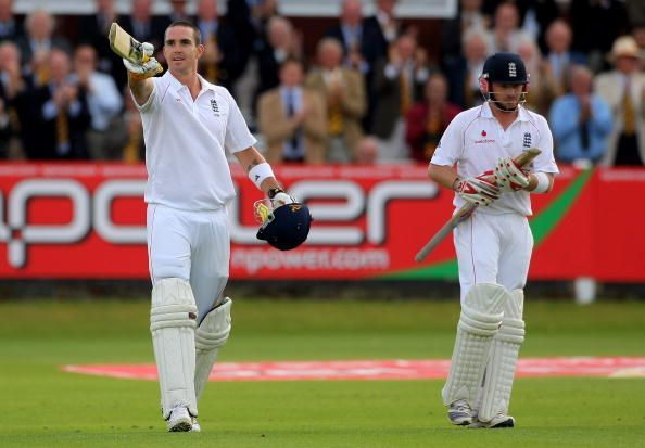 Kevin Pietersen celebrating a Test century against South Africa