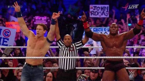 Despite the botch, Lashely and Cena were still able to pick up the win