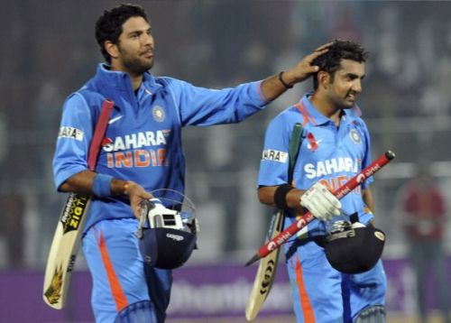 Yuvraj and Gambhir after winning a match for India