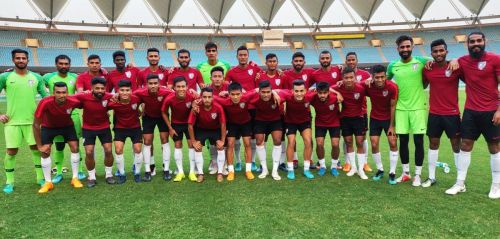 The Indian national football team at the JLN Stadium in New Delhi (Image: AIFF Media)