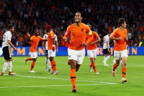 Virgil van Dijk opened the scoring for the Dutch with a header from close range