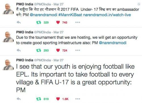PMO Tweets about football how the #FIFAU17WC is a great opportunity.