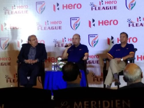 Kushal Das (right) listens as Subrata Dutta speaks during the I-League launch event.