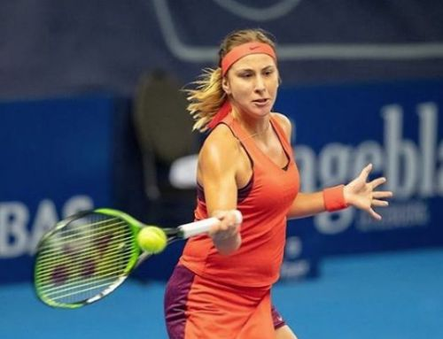 Belinda Bencic focuses on the forehand return during her match at the BGL BNP Paribas Luxembourg Open