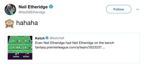 One of the funny moments when Neil Etheridge, goalkeeper of EPL Club Cardiff City placed himself as a substitute rather than in the playing 11 in his own FPL team