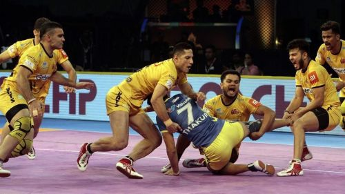 Telugu Titans' defence was deadly tonight on the mat