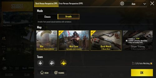 PUBG Mobile: The options in Arcade Mode