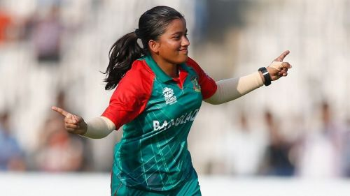 Nadia Akter celebrating after taking a wicket