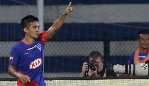 Bengaluru FC skipper Sunil Chhetri opened his account against Jamshedpur FC [Image: ISL]