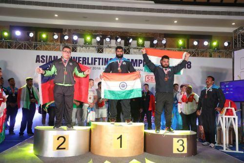 Mukesh (3rd) on the podium of Asian Powerlifting Championship