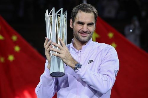 The defending champion of the Shanghai Rolex Masters, Roger Federer with the trophy