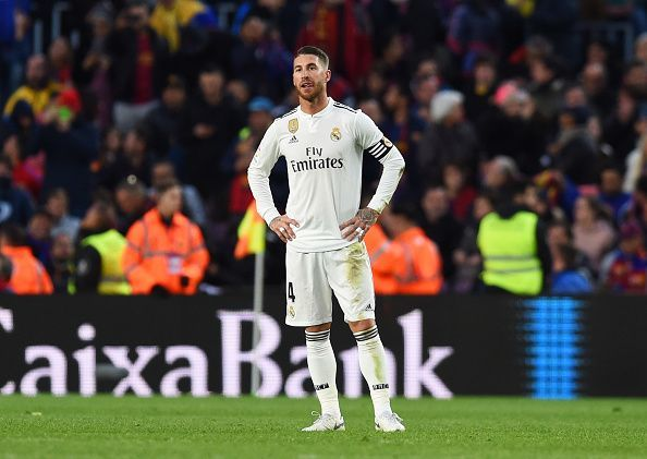 Ramos stands distraught after conceding possession to Suarez, who made no mistake