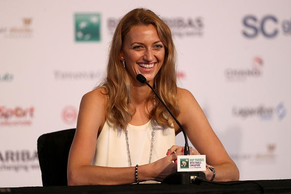 Petra Kvitova speaks at a press conference ahead of the WTA Finals in Singapore