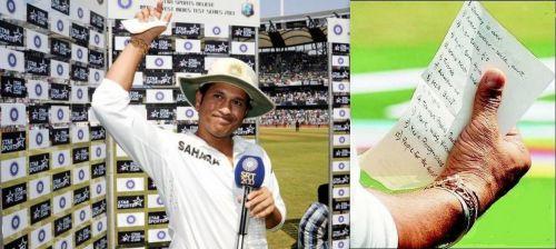 Sachin Tendulkar giving his farewell speech at the end of the Test Series.