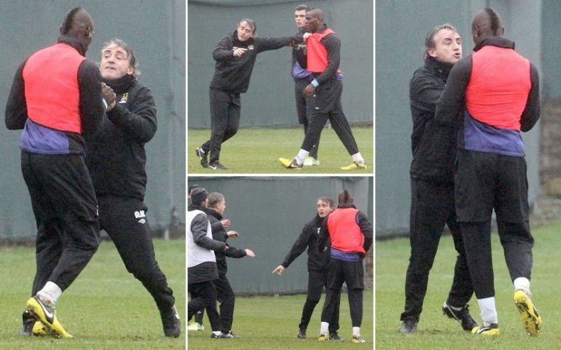 The Manchester City duo came to blows at the end of training