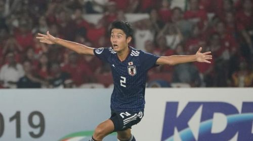 Shunki Higashi excited after a spectacular effort from him gave Japan the lead (Image Courtesy: AFC)
