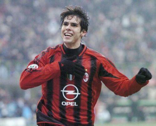 Kaka celebrates scoring for AC Milan.