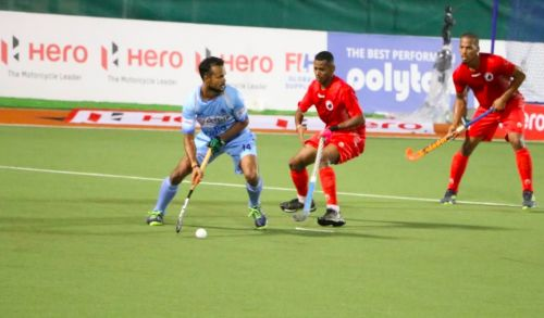 Lalit Upadhyay in action against Oman in India's opening match