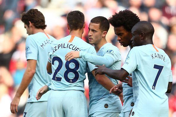Eden Hazard celebrates with his Chelsea team mates