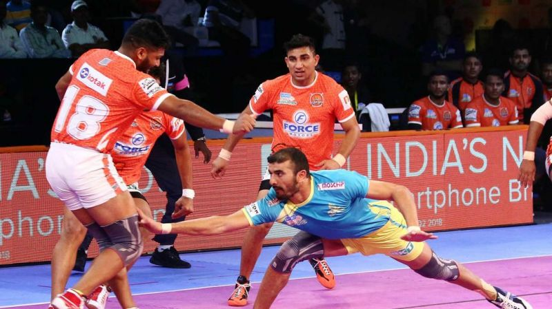 Ajay Thakur was the Perfect Raider of the Match with 12 raid points