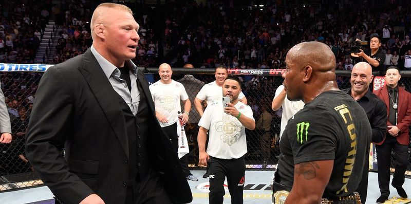 Former Heavyweight Champion, Brock Lesnar confronts reigning Champion, Daniel Cormier