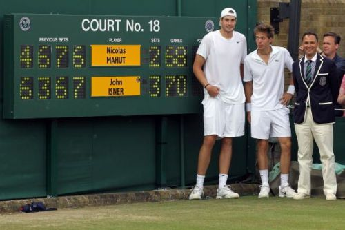 John Isner and Nicolas Mahut after their record-breaking Wimbledon match