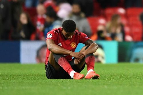 Rashford looks dejected after a draw against Valencia in the Champions League.